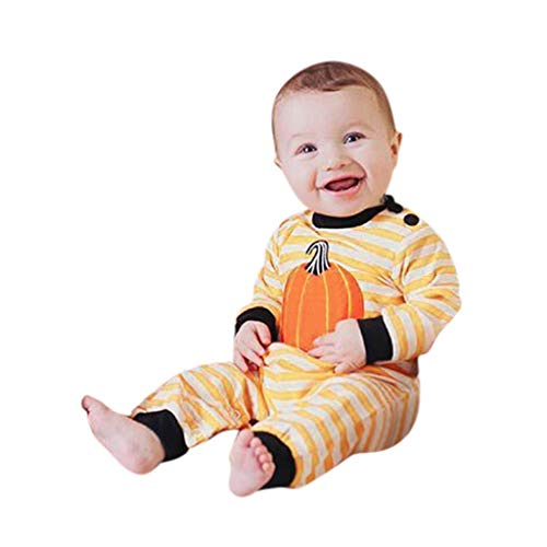 Amazing Deal Goddesslili Baby Halloween Costumes, Cute Cartoon Pumpkin Striped Romper Jumpsuit for K...