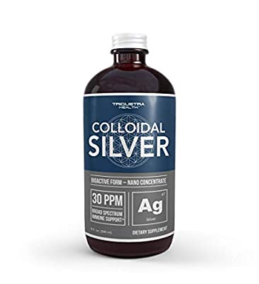Bioactive Colloidal Silver - 8 oz, Glass Bottle, Vegan, Safe Doses with Highest Effectiveness - Nano Ions, 30 PPM - Immune Support (48 Servings)