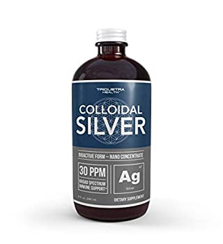 Bioactive Colloidal Silver - 8 oz Glass Bottle Vegan Safe Doses with Highest Effectiveness - Nano Ions 30 PPM - Immune Support  48 Servings