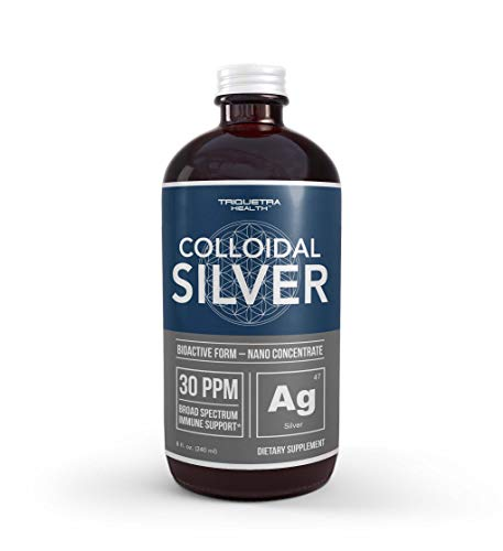 Bioactive Colloidal Silver - 8 oz  Glass Bottle  Vegan  Safe Doses with Highest Effectiveness - Nano Ions  30 PPM - Immune Support (48 Servings)
