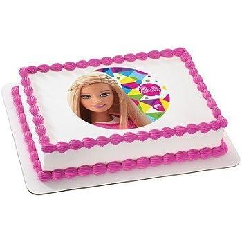 Surprising Amazon Com Barbie Sparkle Licensed Edible Cake Topper 36899 Personalised Birthday Cards Beptaeletsinfo