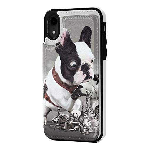 iPhone Xr Case PU Leather Wallet case French Bulldog Mission Went Wrong Funny Flip Phone Cases Cover Anti-Scratch Protective Case with Card Holder
