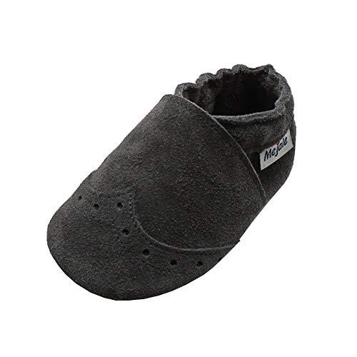 Mejale Weiche Sohle Leder Babyschuhe Lauflernschuhe Krabbelschuhe Kleinkind Kinderschuhe Hausschuhe (12-18 Monate, Grau,L)