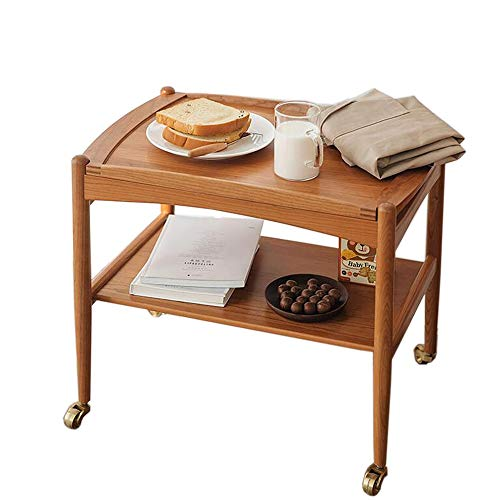 JCNFA-BOEKENPLANK Pocket Diner, Massief Houten Keuken Bijzettafel, Duw De Mobiele Opslag Kar, Tea Trolley Rek, Metalen Wielen (Color : Wood, Size : 23.62 * 16.14 * 19.05in)