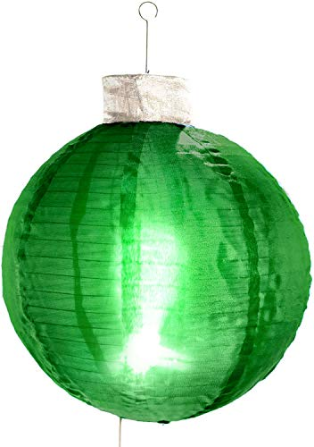 Elf Logic - 21' Large Outdoor Christmas Ornament That Lights UP! Collapsible Light-Up Ball - Perfect Indoor or Outdoor Holiday Decoration! Beautiful Outdoor Christmas Tree Ornaments New! (Green)