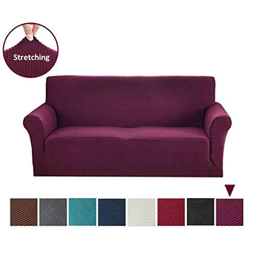 Argstar Jacquard Stretch Couch Slipcovers, Washable Strapless Sofa Protector and Elastic Couch Covers for Furniture, Fuchsia