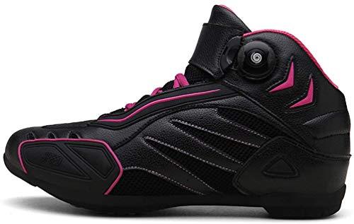 LOJALS Zapatos de Motocicleta para Hombres de Cuero Deportivo para Hombre Scooter de Servicio Pesado Botas en el onroot Botas de Tobillo Cortas Suaves Zapatos de Ciclismo de montaña,Púrpura,44 EU