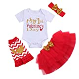 Baby Girl My First Valentine's Day Outfit Short Sleeve Romper+Tutu Skirt+Leg Warmers Headband Clothes Set (Short Sleeve, 3-6 Months)