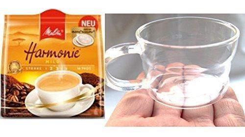 Melitta Kaffeepads Harmonie 16 Stk 1er Pack, + Design Glastasse, Kaffeetasse, Kaffee, Tasse, Glas, 200ml, 4er Pack im Geschenk Karton