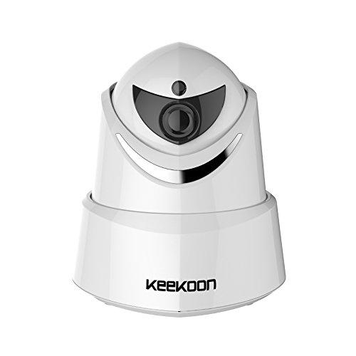 Keekoon Sistema de cámara de Seguridad 2.0MP 1080P HD WiFi IP con función de Giro e inclinación, vigilancia para bebés y Mascotas, cámara de Audio y Nocturna bidireccional, Blanco