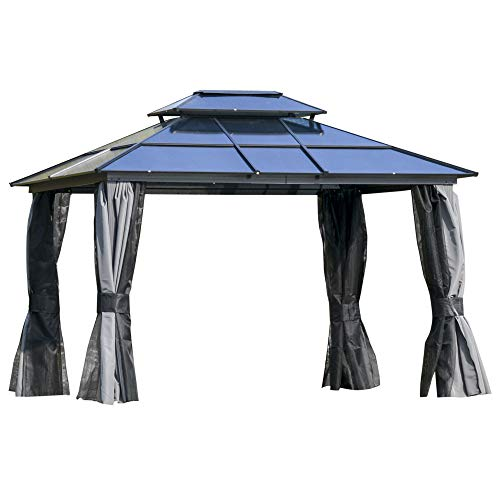 Outsunny 12' x 10' Polycarbonate Hardtop Patio Gazebo Canopy with Double-Tier Roof, Stable Steel Frame, & Net Sidewalls