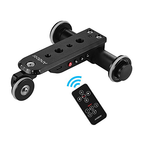 Andoer PPL-06S Pro Auto Dolly Motorized Video Slider Skater 5 Speeds Adjustable Aluminum Alloy Max. Load 4kg with USB Rechargeable Battery 2.4G Remote Control Phone Holder for iPhone X/8/7/7plus/6 for