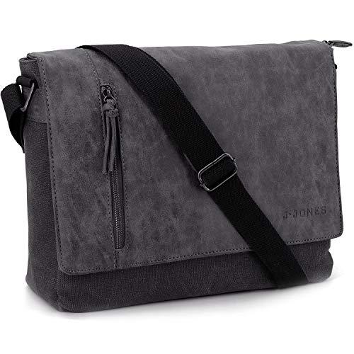 ekavale - Canvas Messenger Bag 14 Zoll – Herren Umhängetasche Schultertasche für Arbeit, Schule & Freizeit (Schwarz)