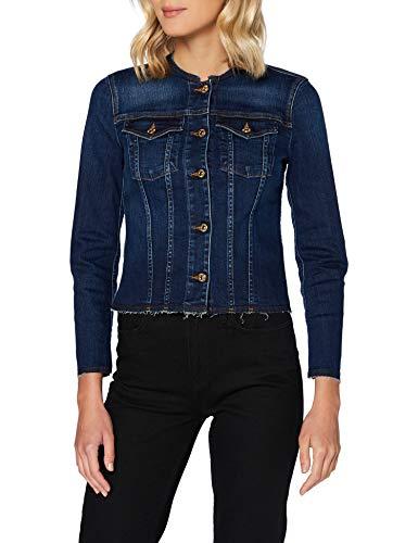7 For All Mankind Womens Denim Jacket Casual Blazer, Dark Blue, M
