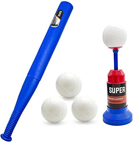 Duyifan Baseball Machine Pitching Ball Kids, Ball Set Includes 3 Balls, Training Semi Automatic Baseball Launcher, Adjustable Baseball bat, Kid Toy for Beginner, Red-Blue (Type- Press)