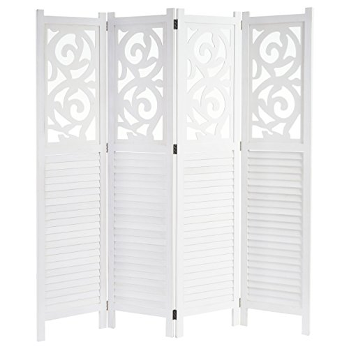 Mendler Paravent Istanbul, Raumteiler Trennwand Sichtschutz, Ornamente - 170x160cm, weiß