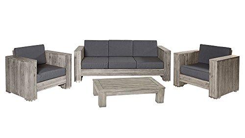 Loungegruppe Bali grau Akazienholz Palettenmöbel Sitzgruppe Gartenmöbel Outdoor