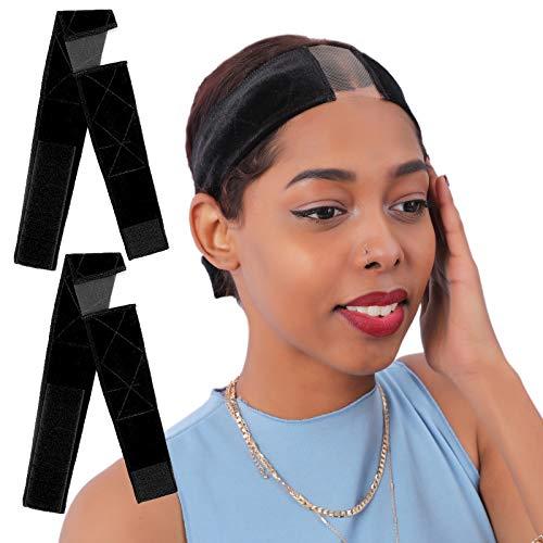 Smilco Lace Wig Grip Headbands for Women, 2 PCS No Slip Wig Grip Bands,Adjustable Breathable Velvet Wig Grip Cap for Lace Wigs(Black-2pcs)