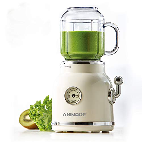 ANIMORE Portable Blender For Making Smoothies And Shake, Retro Juicer Blender With 6 Sharp Blades, Smoothies Blender With BPA-Free Mason Jar and Sport Cup With Smoothie Straw And Lid