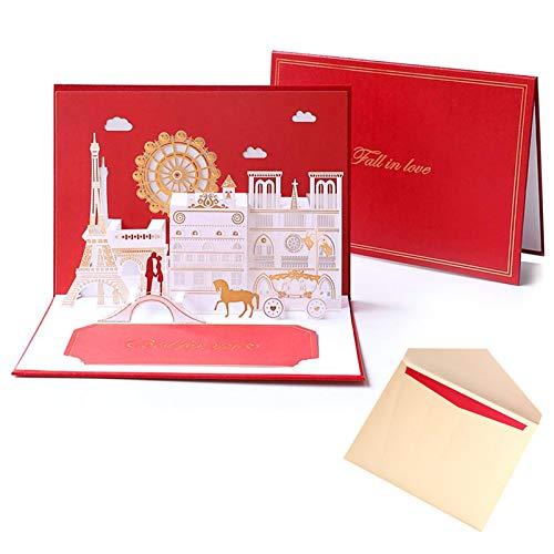 Migimi Valentinstagskarte, Märchengrußkarte, 3D Popup Grußkarte mit schönen Papier-Cut, beste Geschenk für den Geburtstag oder Jahrestag des Liebhabers