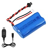 7.4V 1500mAh Li-ion Battery 15C SM Plug Rechargeable Battery with USB Charger for RC Car Boat Spare Parts Accessories