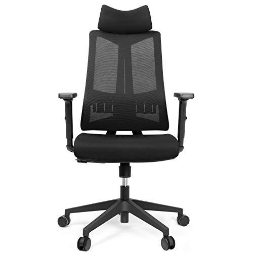Besit Bürostuhl ergonomisch, einverstellbare Kopfstütze, Lendenstütze, Armlehne und Rückenlehne, Atmungsaktiver Schreibtischstuhl mit Wippfunktion 90°~127°, belastbar bis 140kg