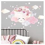 Little Deco DL447 Sticker mural autocollant pour chambre d'enfant Motif lune avec couronne et nuages II