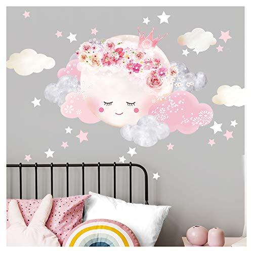 Little Deco Wandtattoo Kinderzimmer Mädchen Mond mit Krone & Wolken I XL - 72 x 51 cm (BxH) I Wandsticker Babyzimmer selbstklebend Baby Wandaufkleber Sterne Kinder DL447