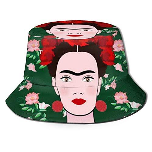 Sombrero de Pescador Unisex Frida Kaklo Mujer Mexicana Sombrero de Pescador de ala Ancha Gorra de Cubo para Hombre Mujer Negro