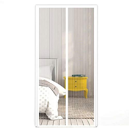 Moskitoschutz Fliegengitter Magnet-Vorhang Türvorhang Insektenschutz magnetisch automatisches Schließen 210x100 cm für Balkontür, Terassentür, Wohnzimmer, Schlafzimmer, einfache Montage in Weiß