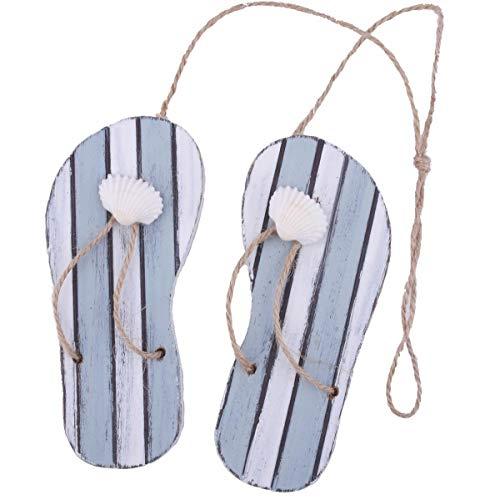 Dadeldo Home Flip-Flops -Beach- Deko-Anhänger Holz 12x10cm blau-Weiss Maritim Dekoration