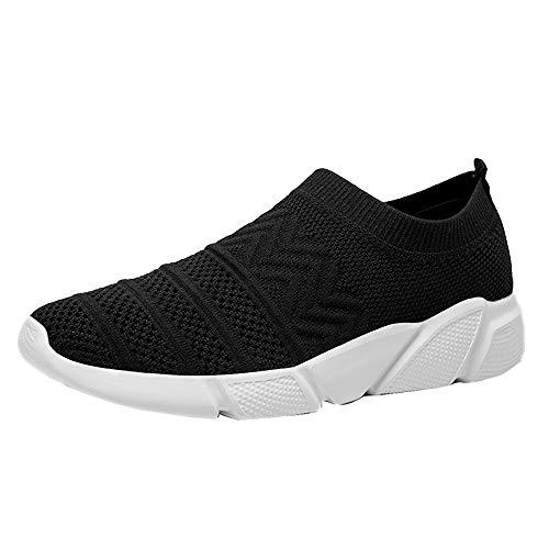 XFQ Damskie letnie trampki, lekkie obuwie gimnastyczne na co dzień wsuwane siatkowe modne buty do biegania do uprawiania sportów na spacery, czarne, 35 EU