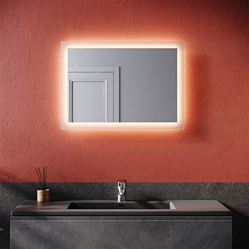SONNI Badspiegel mit Beleuchtung 50×70 cm warmweiß Wandschalter Badezimmerspiegel LED Badspiegel Wandspiegel IP44