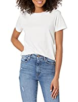 The Drop Courtney Camiseta pequeña de manga corta de punto con cuello redondo, Blanco, S