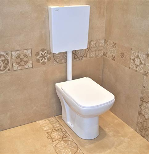 Ceramic Floor Mounted European Water Closet/Western Toilet Commode/EWC S Trap Concealed with Soft Close Hydraulic Seat Cover- White & Premium Slim Dual Flush Flush Tank Combo