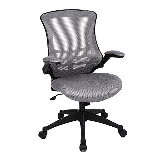 SONGMICS Bürostuhl, ergonomischer Drehstuhl mit klappbaren Armlehnen, Höhenverstellung und Wippfunktion, für Soho- oder Büroarbeit, belastbar bis 150kg, grau, OBN81G