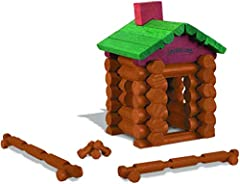 Hasbro licensed to be the World's Smallest Lincoln logs Includes 49 assorted size logs, plans and chimney to build log cabins, bridges and more! Authentic style storage container