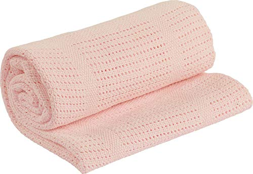 Adore Home 100% Cotton Cellular Soft Baby Blanket for Cot Pram Moses Basket, Pink, 60x90cm