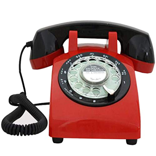 Nfudishpu Classic Vintage Telefon mit Drehknopf, Retro Telefon Metall Mechanischer Klingelton - Rot