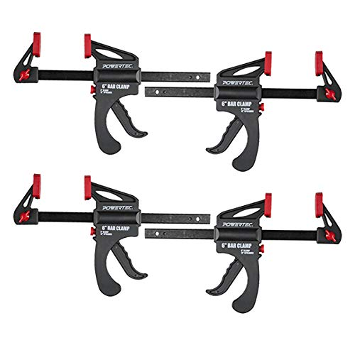 POWERTEC 71593 6 in. Quick Release Bar Clamp with 12 inch Spreader | Ratcheting Bar Clamp - 4PK