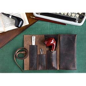 Leder Handgefertigte Pfeifentasche, Tabak Rollup Tasche, Pocketsize Rohr Tasche, Dunkelbraun