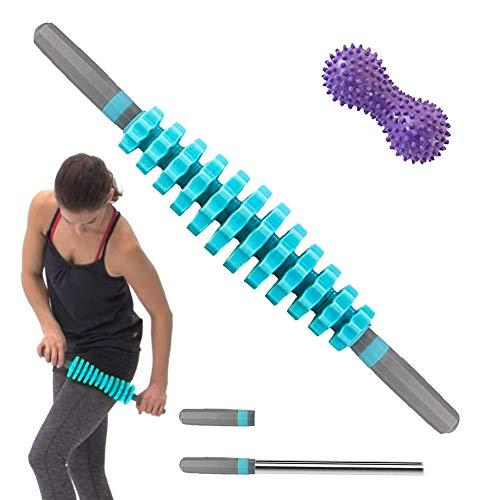 ZNEU Massageroller Muskel Roller Stick - Mit Ergonomischen Peanut Ball Massagegerät - für Triggerpunkt-Massage, Faszienrolle mit Griff und Massageball Ideal für Anfänger (Blau)