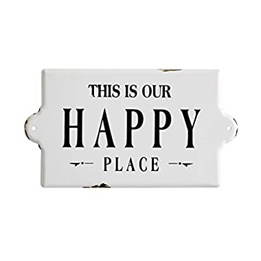 Creative Co-Op DA7668 Sayings Enameled Happy Place Wall Plaque