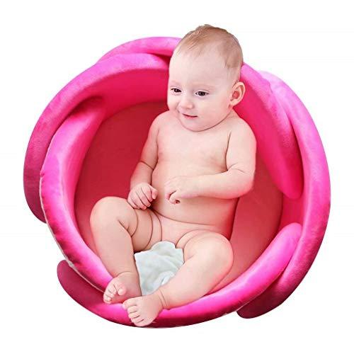 Baby Bath Lotus Cushion Sink Bather Petal Newborn Bathtub Mat Bathing Tub Seat Support Lounger Flower Bathing Pad Non-Slip Safety Sink Insert Tub Hot Pink