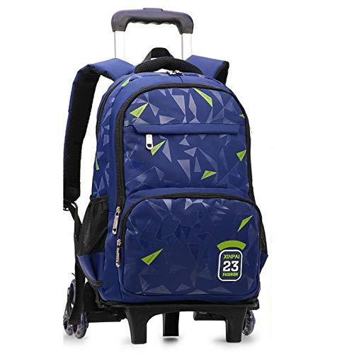 ZZLHHD Rolling Backpack for Kids,Large capacity tie rod bag, reduce shoulder backpack-blue_Six rounds, Trolley Case for Children School