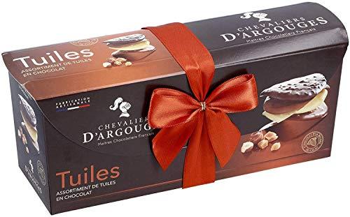 CHEVALIERS DARGOUGES Maîtres Chocolatiers Français Assortiment de Tuiles Chocolat Noir/Lait/Blanc Ballotin Cadeau 300 g