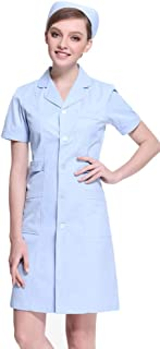 Women's Button Front Solid Hospital Nurse Scrub Dress