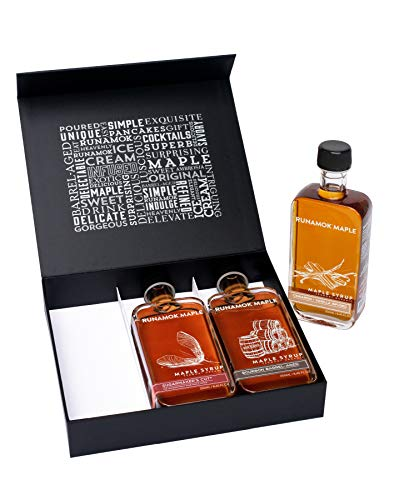 Runamok Maple Syrup Gift Box | Best Sellers Collection | Unique Birthday Gift Box | Bourbon Barrel-Aged, Cinnamon-Vanilla & Sugarmaker's Cut | 3 Bottles of Real Maple Syrup | 8.45 Fl Oz (250mL)