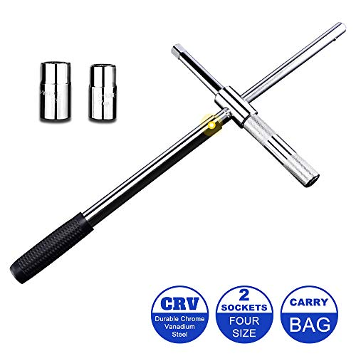 """Spurtar 25"""" Telescoping Lug Wrench, 4-Way Universal Tire Tool Wheel Brace Set with 4 Standard Sockets (17/19, 21/22mm) Strong Storage Bag for Repair Car Vehicle Auto Tire Nut Wrench"""