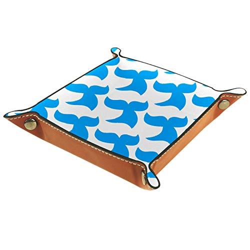 FCZ Blue Killer Whale Orca Pattern - Bandeja de cuero para mesita de noche para almacenamiento de joyas, llavero, monedero, caramelo, 20 x 20 cm